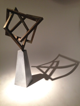 Cubes Squared - patinaed steel & concrete